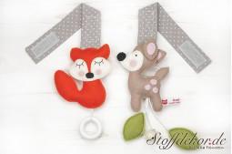 Bambi mit Blätter und Glöckchen und Fuchs mit Ring Duo
