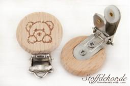 Holzclip mit Gravur-Motiv Fuchs Schnullerclip Babyclip Schnullerkettenclip Anhängerclip